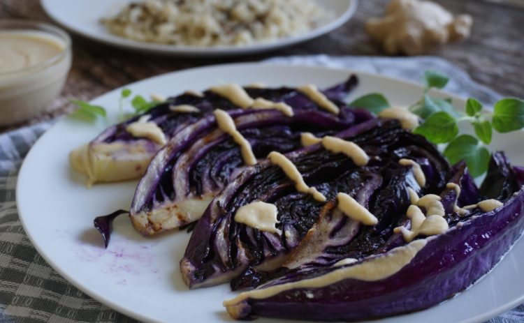 Want to finish that red cabbage? Grill it and add a yummy chickpea-ginger sauce