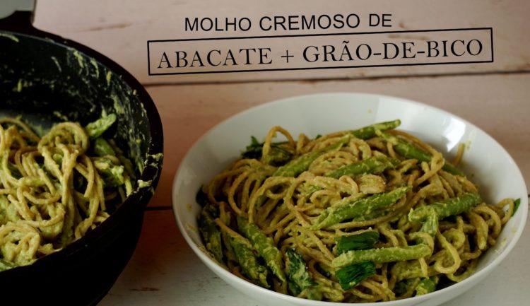 Espaguete com molho incrivelmente cremoso feito com grão-de-bico e abacate